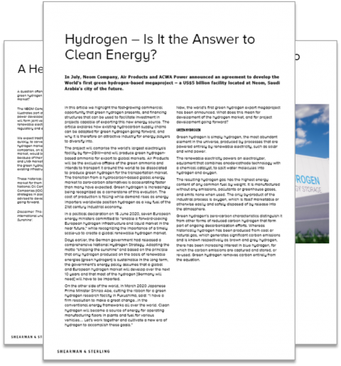 Shearman & Sterling: Hydrogen – Is It the Answer to Clean Energy?